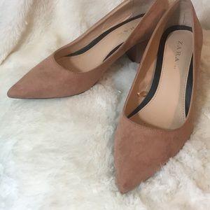Zara Shoes - Gorgeous Blush Zara Block Heels